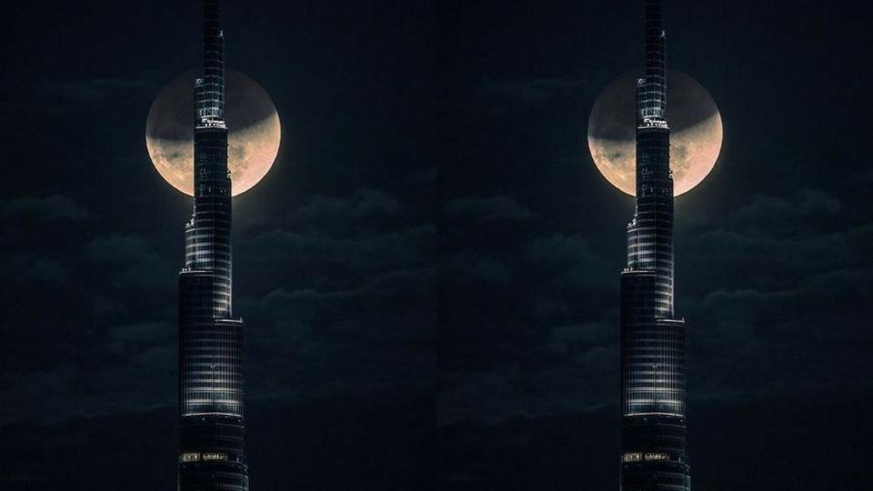 شاهدوا: الشيخ حمدان يلتقط فيديو سريع يعرض مراحل ظهور القمر العملاق خلف برج خليفة