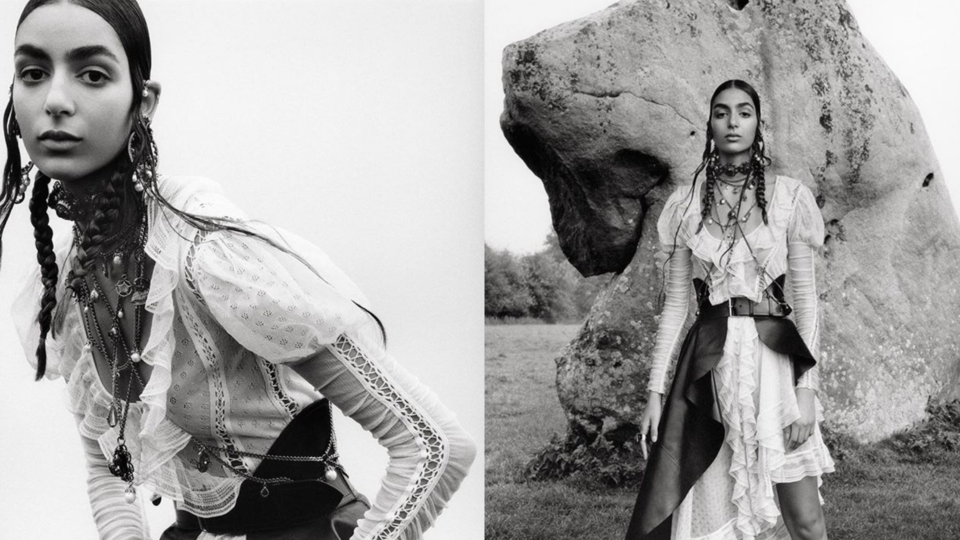 عارضة الأزياء البريطانية المغربية نورا عتال تشارك في حملة ألكسندر ماكوين الترويجية