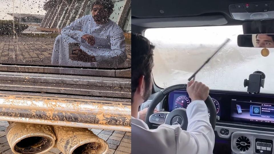 شاهدي: الشيخ حمدان بن محمد يقود سيارته في أجواء دبي الماطرة