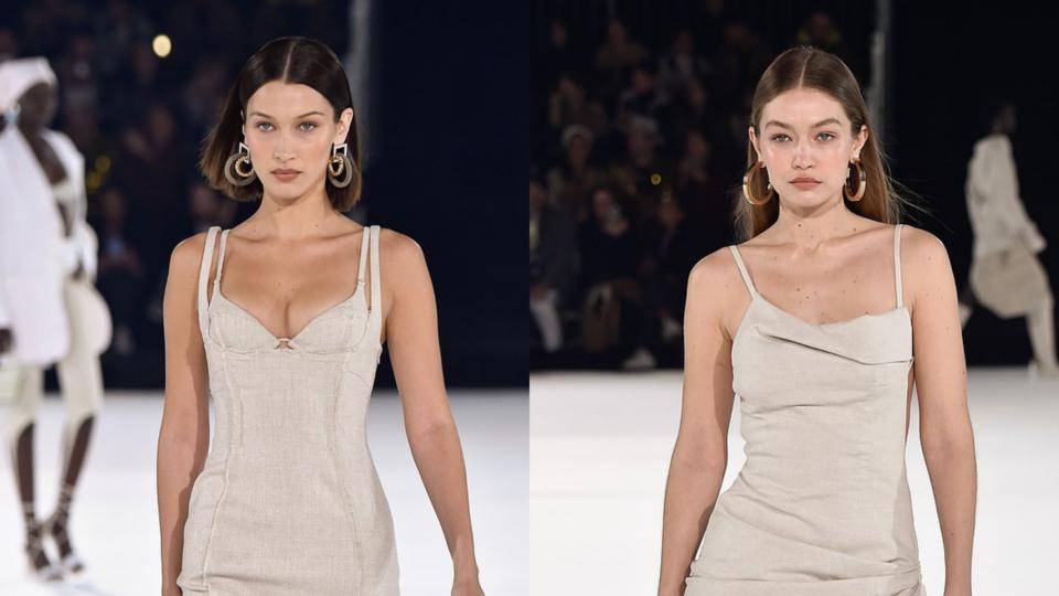 تألقت الأختان حديد في عرض أزياء المصمم جاكمو أمس في باريس