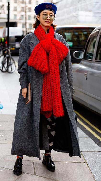 أزياء الشارع في أسابيع الموضة: أناقة الأحمر