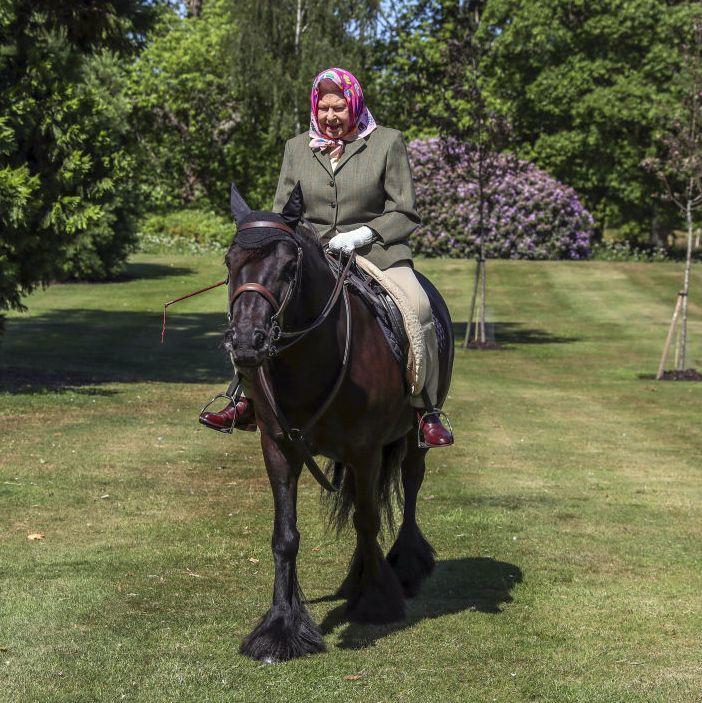 شاهدي الملكة إليزابيث تستمتع بنزهة على صهوة الخيل أثناء العزل